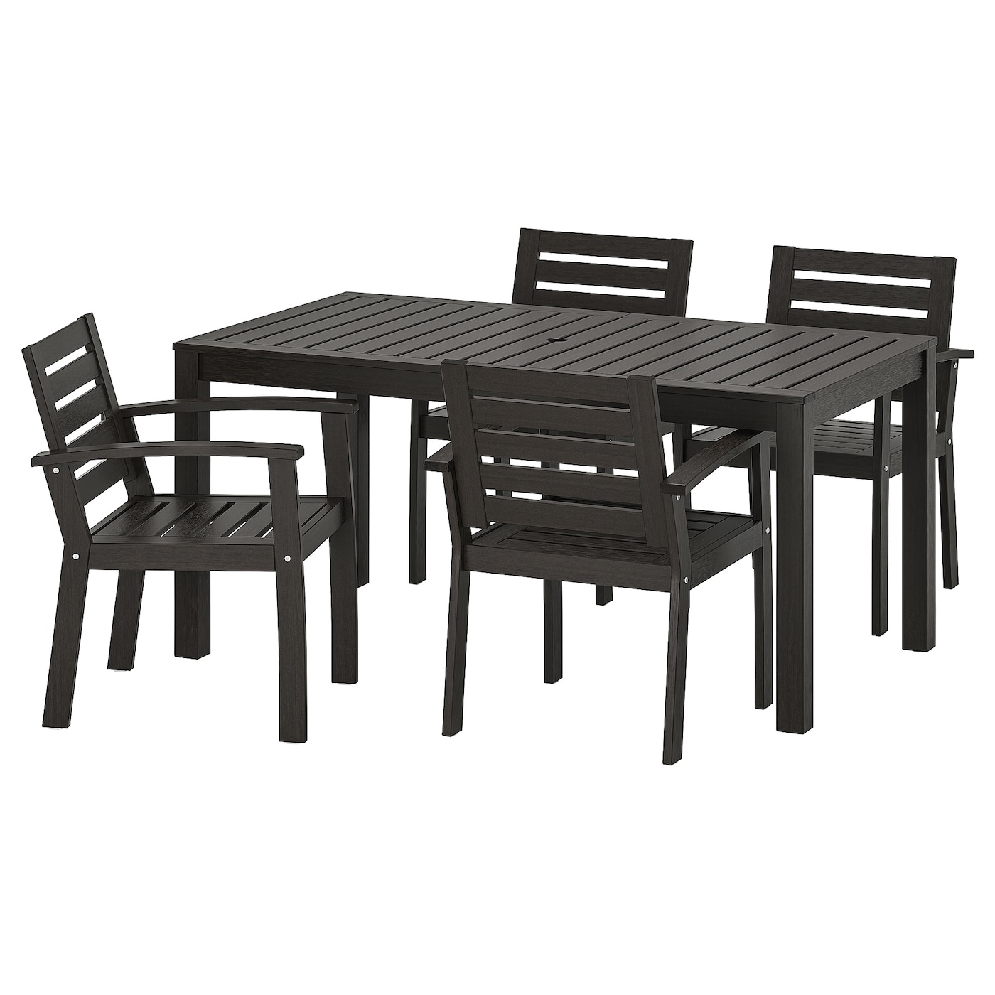 IKEA KLÖVEN table+4 chairs w armrests, outdoor