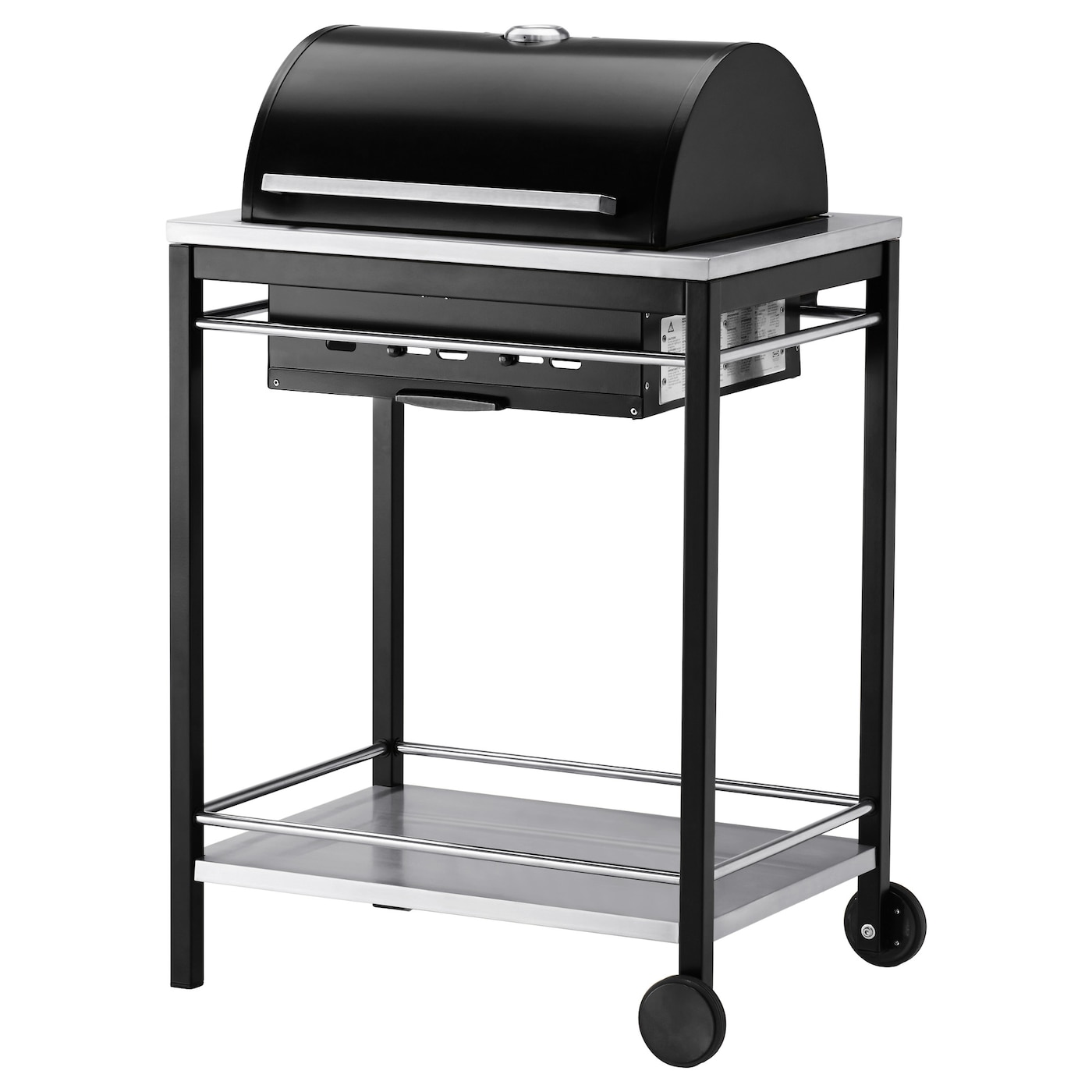 IKEA KLASEN charcoal barbecue Heat-insulated handles in stainless steel.
