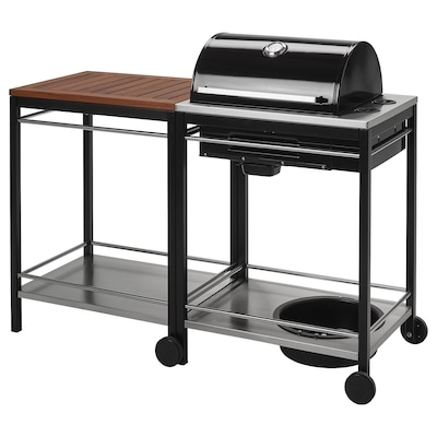 KLASEN Gas barbecue with trolley, stainless steel/brown stained