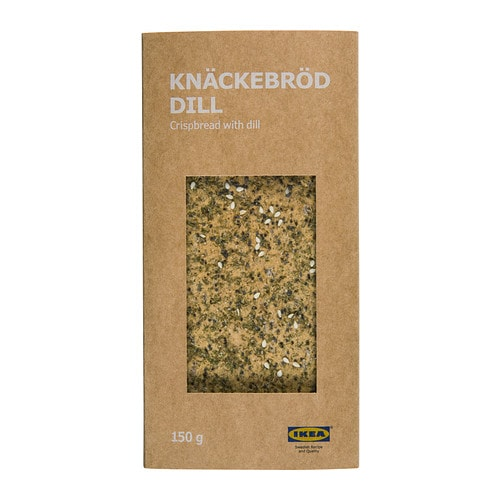 KNÄCKEBRÖD DILL Crispbread with dill IKEA A sea salt, dill, poppy and sesame seasoned crispbread.