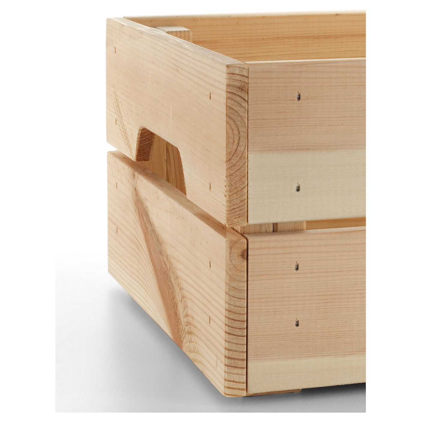 IKEA KNAGGLIG box Perfect for storing cans and bottles since the wooden box is sturdy and durable.