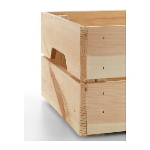 ikea knagglig wooden pine storage box crate ideal for. Black Bedroom Furniture Sets. Home Design Ideas