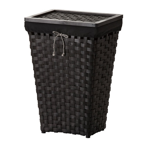 Knarra Laundry Basket With Lining Black Brown Ikea