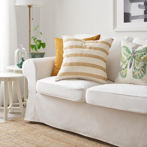 KNIPPARV cushion natural golden-yellow/striped 50 cm 50 cm 750 g 1090 g