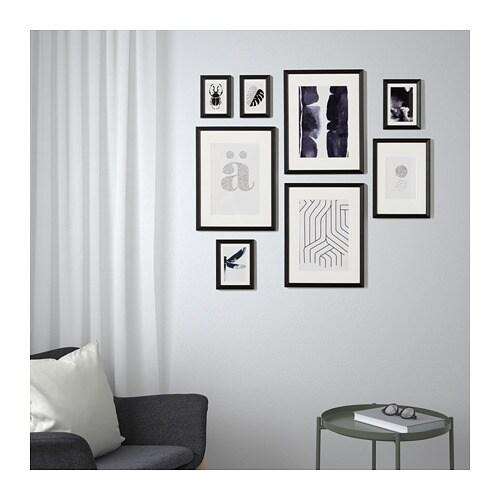 KNOPPÄNG Frame with poster, set of 8 Black - IKEA