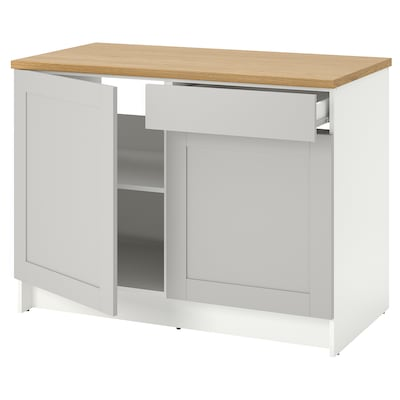 KNOXHULT Base cabinet with doors and drawer, grey, 120 cm