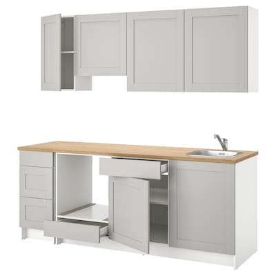 KNOXHULT Kitchen, grey, 220x61x220 cm