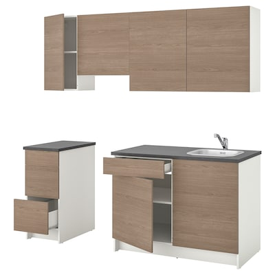 KNOXHULT Kitchen, wood effect grey, 220x61x220 cm