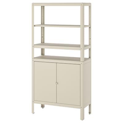 KOLBJÖRN Shelving unit with cabinet, beige, 80x37x161 cm