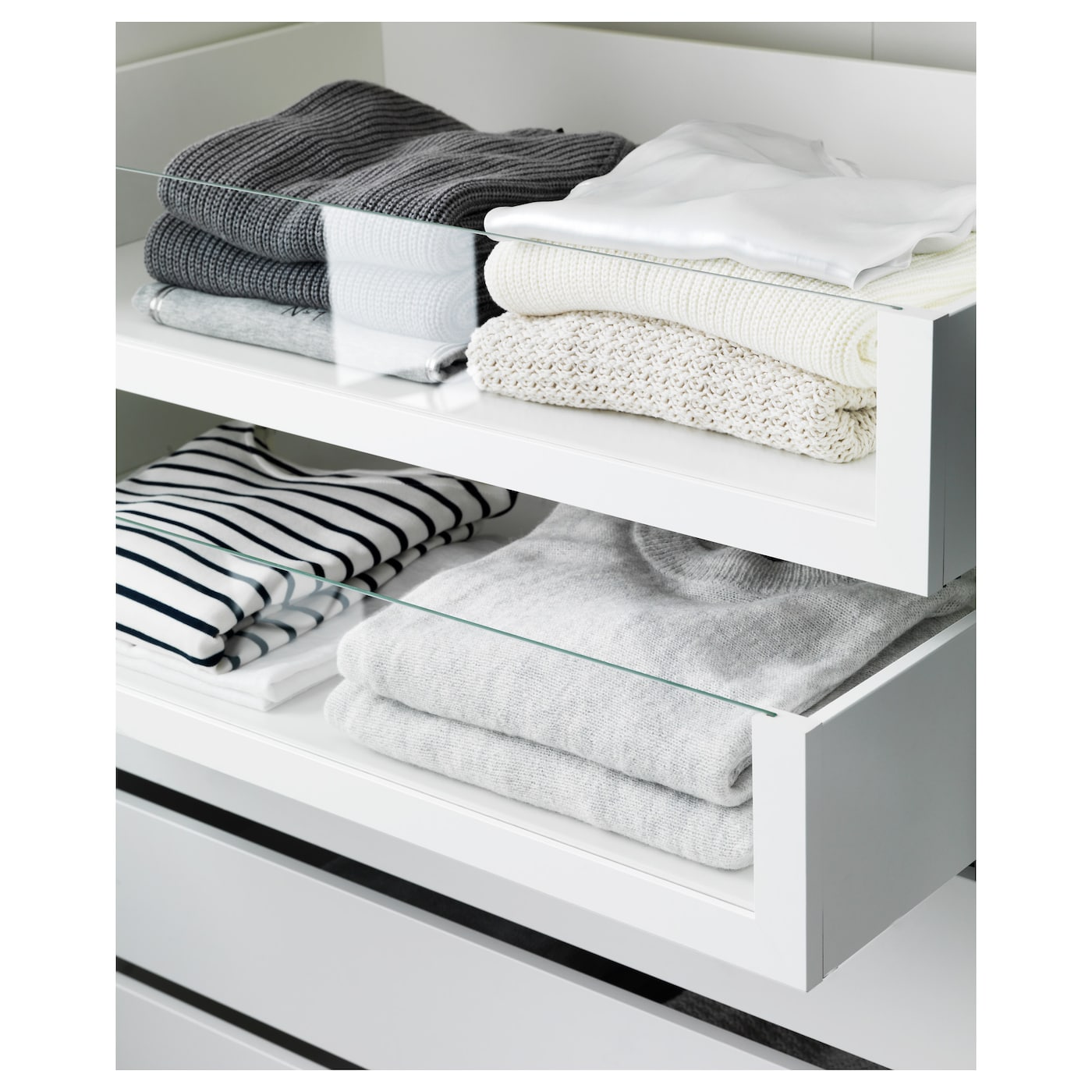 komplement drawer with glass front white 75x58 cm ikea. Black Bedroom Furniture Sets. Home Design Ideas
