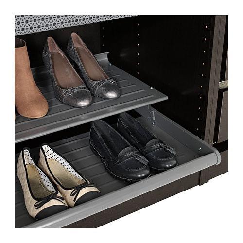 IKEA KOMPLEMENT pull-out shoe shelf Solid bottom prevents any dirt from falling outside the shelf.