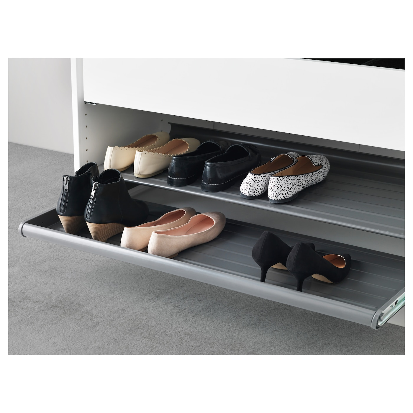 Komplement pull out shoe shelf dark grey 100x58 cm ikea for Ikea complementi