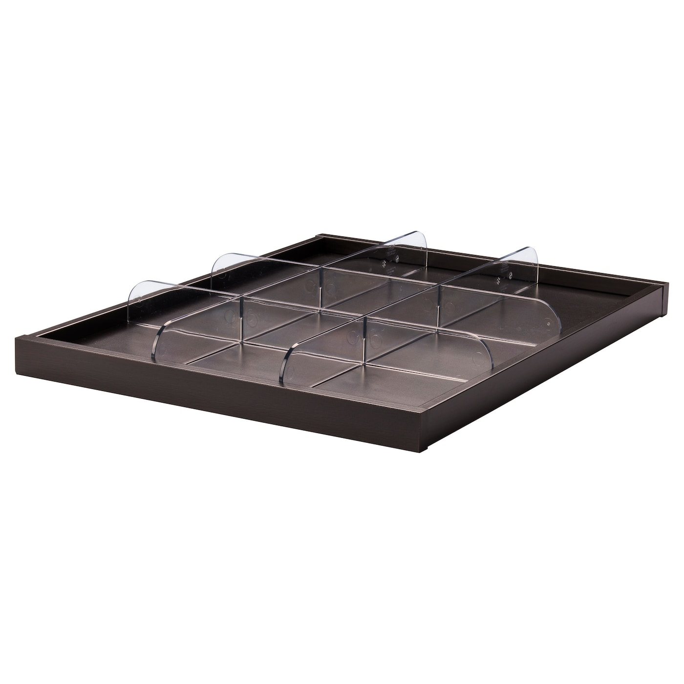 komplement pull out tray with divider black brown transparent 50x58 cm ikea. Black Bedroom Furniture Sets. Home Design Ideas