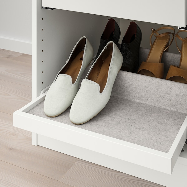 KOMPLEMENT Pull-out tray with shoe insert, white/light grey, 50x58 cm