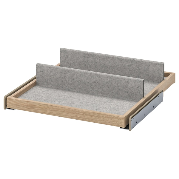 KOMPLEMENT Pull-out tray with shoe insert, white stained oak effect/light grey, 50x58 cm