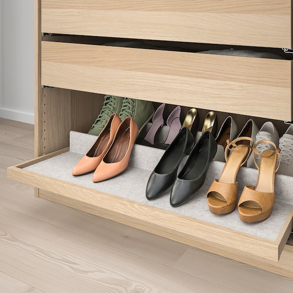 KOMPLEMENT Pull-out tray with shoe insert, white stained oak effect/light grey, 100x58 cm