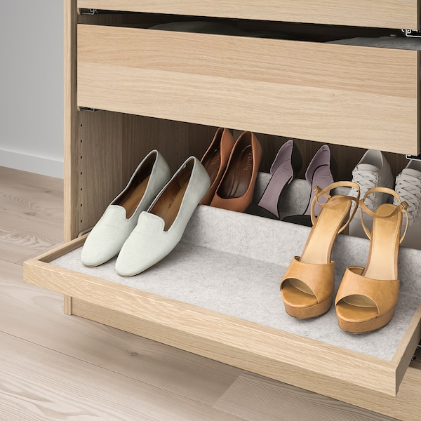 KOMPLEMENT Pull-out tray with shoe insert, white stained oak effect/light grey, 75x58 cm