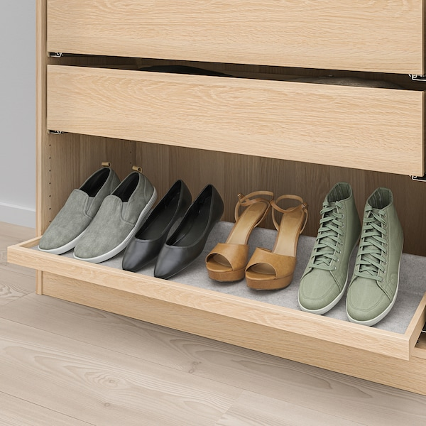 KOMPLEMENT Pull-out tray with shoe insert, white stained oak effect/light grey, 100x35 cm