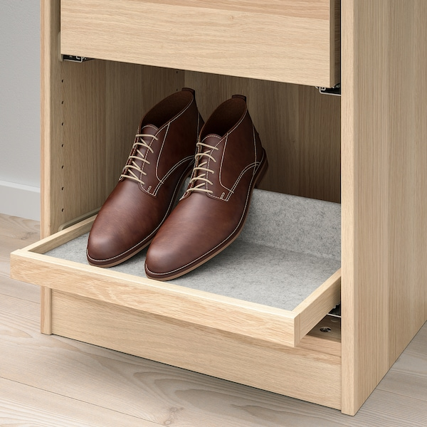 KOMPLEMENT Pull-out tray with shoe insert, white stained oak effect/light grey, 50x35 cm