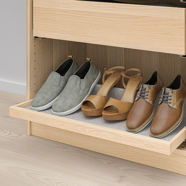 KOMPLEMENT Pull-out tray with shoe insert, white stained oak effect/light grey, 75x35 cm