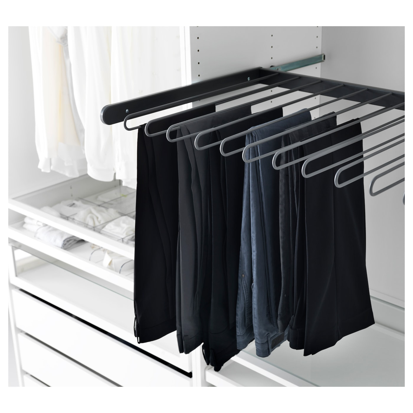 Komplement pull out trouser hanger dark grey 100 x 58 cm for Ikea complementi