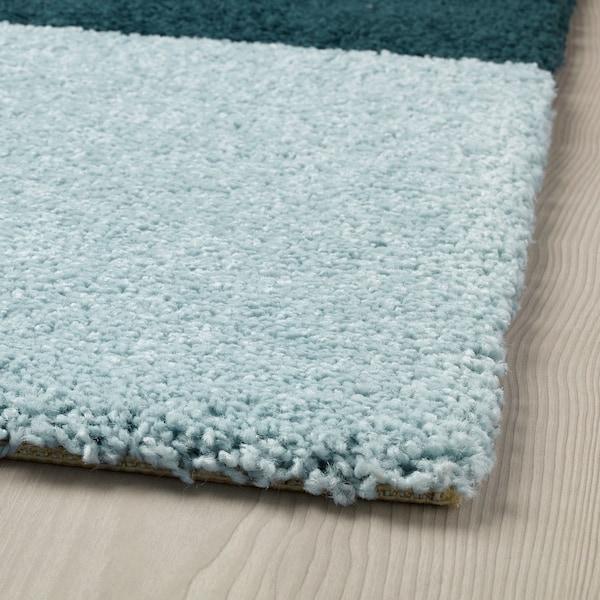 KONGSTRUP Rug, high pile, light blue/green, 133x195 cm