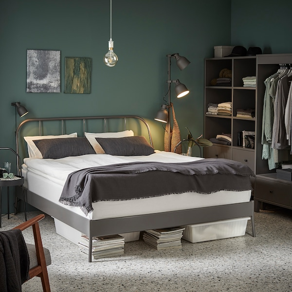 KOPARDAL Bed frame, grey/Luröy, Standard Double