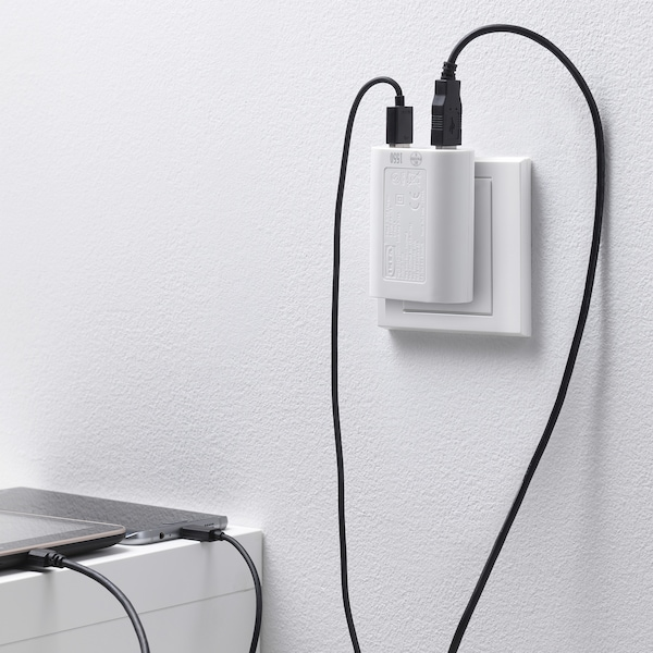 KOPPLA 3-port USB charger, white