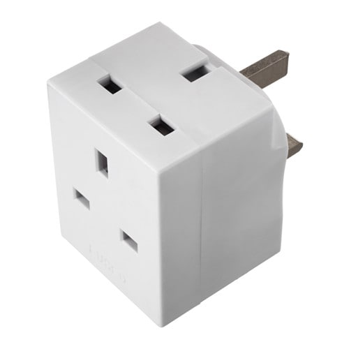 Koppla 3 Way Adaptor Plug Earthed White Ikea
