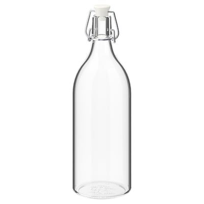 KORKEN Bottle with stopper, clear glass, 1 l