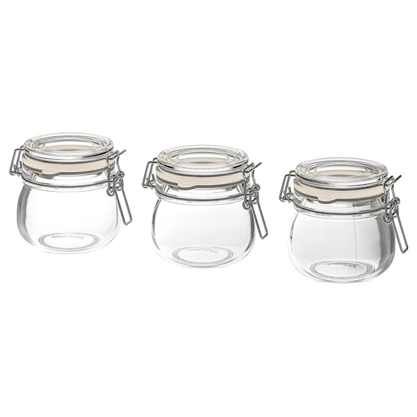 KORKEN Jar with lid, clear glass, 13 cl