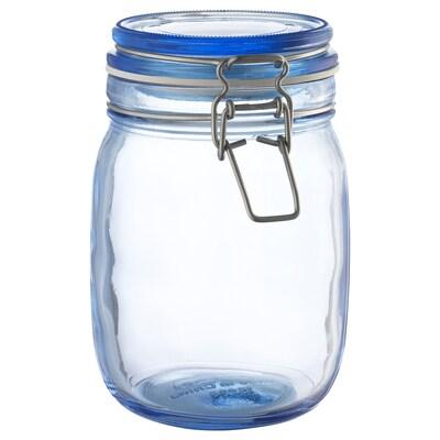 KORKEN jar with lid blue 16.5 cm 12 cm 1 l