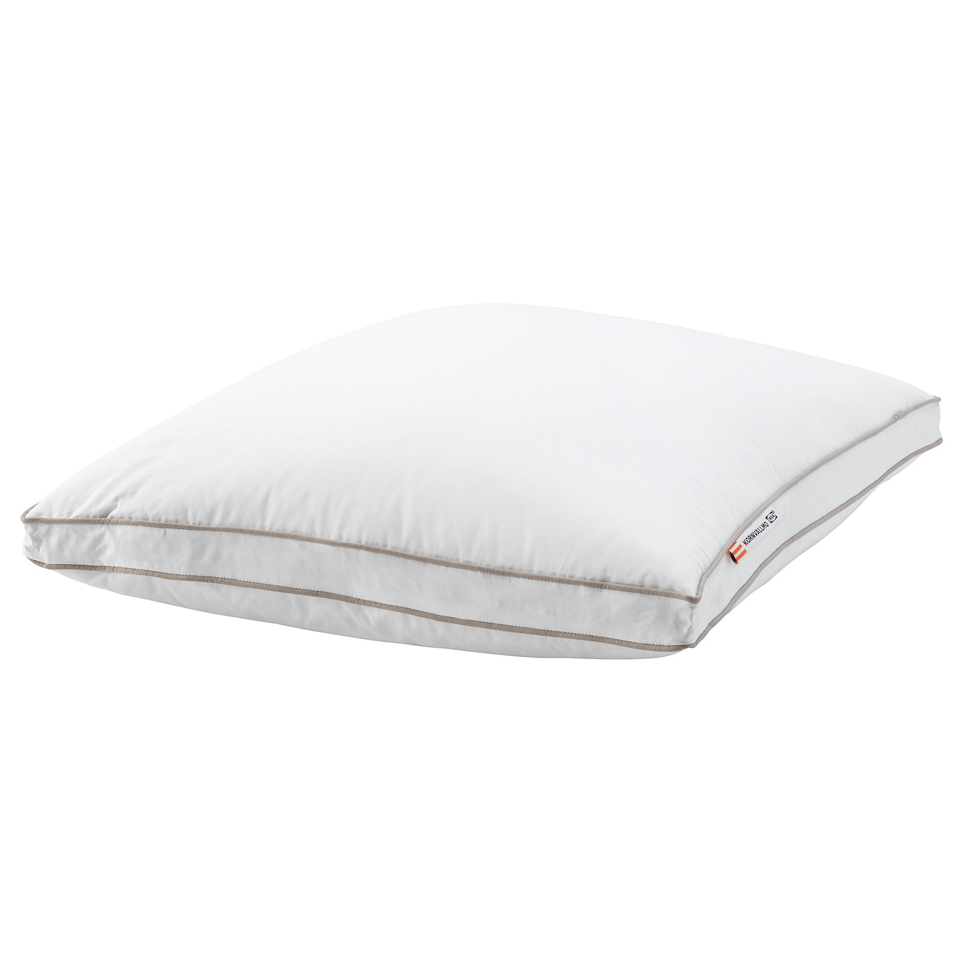 IKEA KORNVALLMO pillow, firmer A firm pillow in cotton sateen, filled with duck down and feathers.