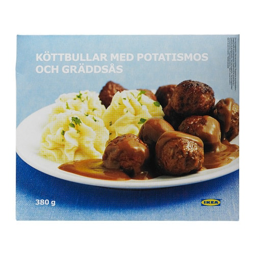 KÖTTBULLAR MED POTATISMOS Meatballs w mashed potatoes, frozen IKEA Minced meat formed into small, round balls, together with mashed potatoes.