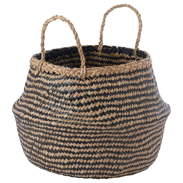 KRALLIG Basket, seagrass/black, 25 cm