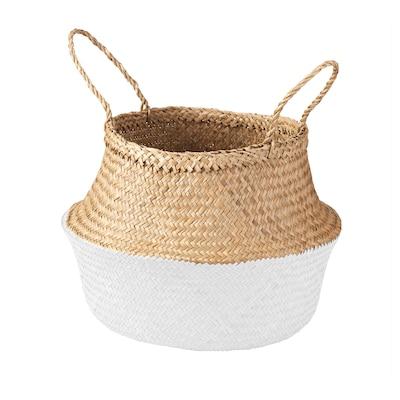 KRALLIG basket seagrass/white 28 cm 25 cm 16 cm