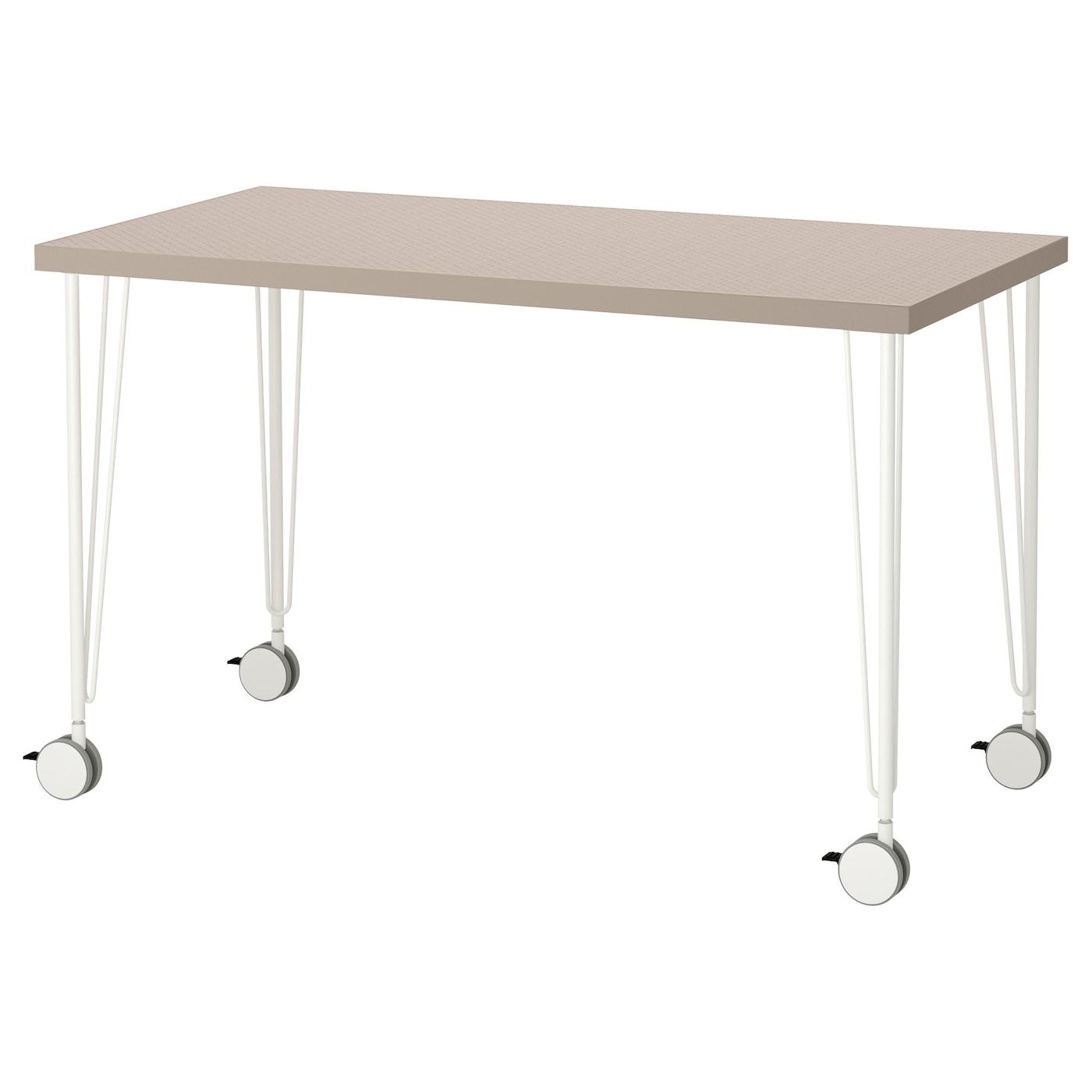 Krille linnmon table geometric beige white 120x60 cm ikea for Table 70x140