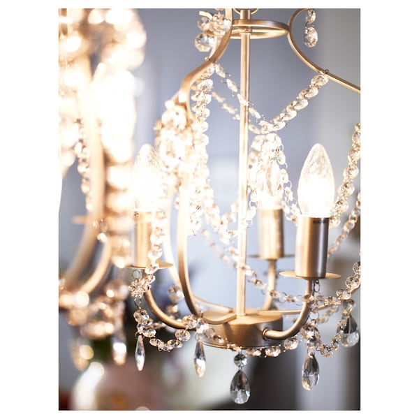 KRISTALLER Chandelier, 3-armed, silver-colour/glass