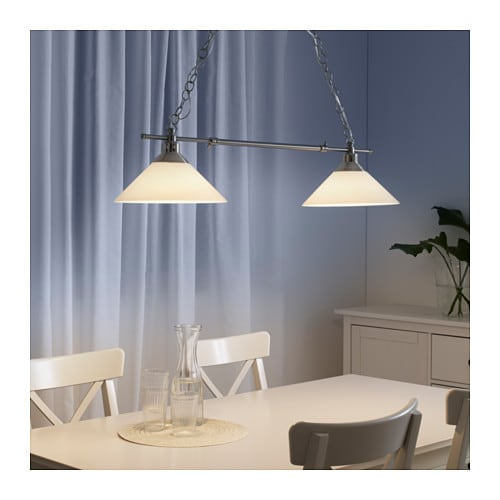 ikea kroby pendant lamp double each shade of mouth blown glass is