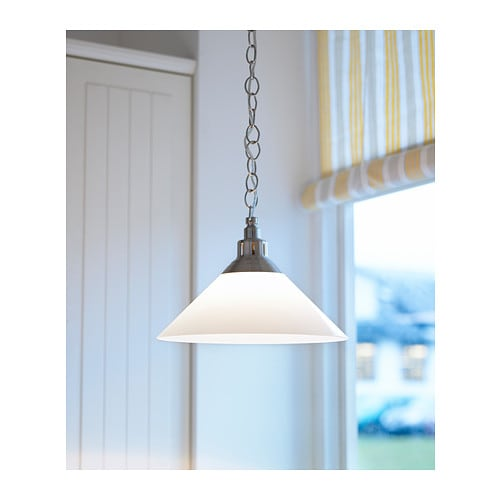 IKEA KROBY pendant lamp The height is easy to adjust by using the S-hook or cutting the chain.