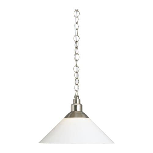 KROBY Pendant lamp IKEA The height is easy to adjust by using the S-hook or cutting the chain.  Shade of mouth blown glass; each shade is unique.