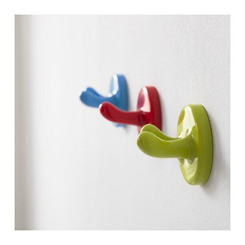 IKEA KROKIG wall hook Set of 3 hooks. 1 green double hook, 1 blue