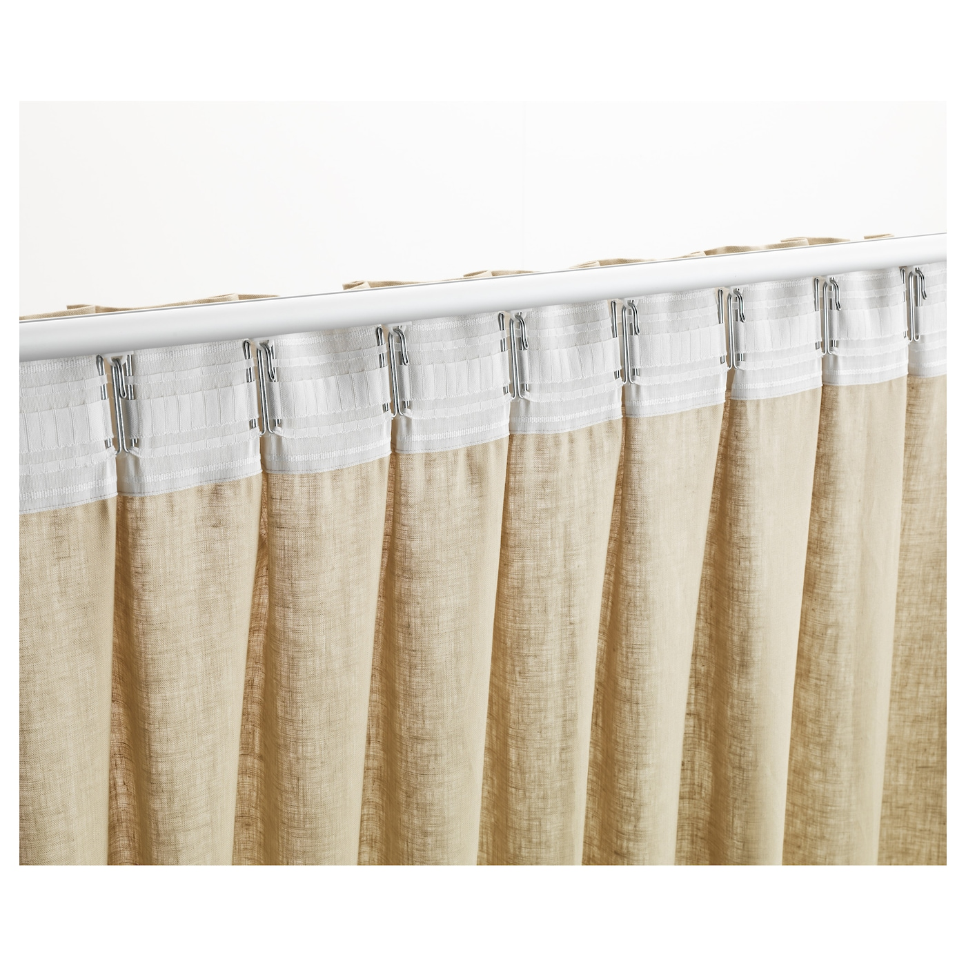 Kronill pleating tape white cm ikea for Enganches para cortinas