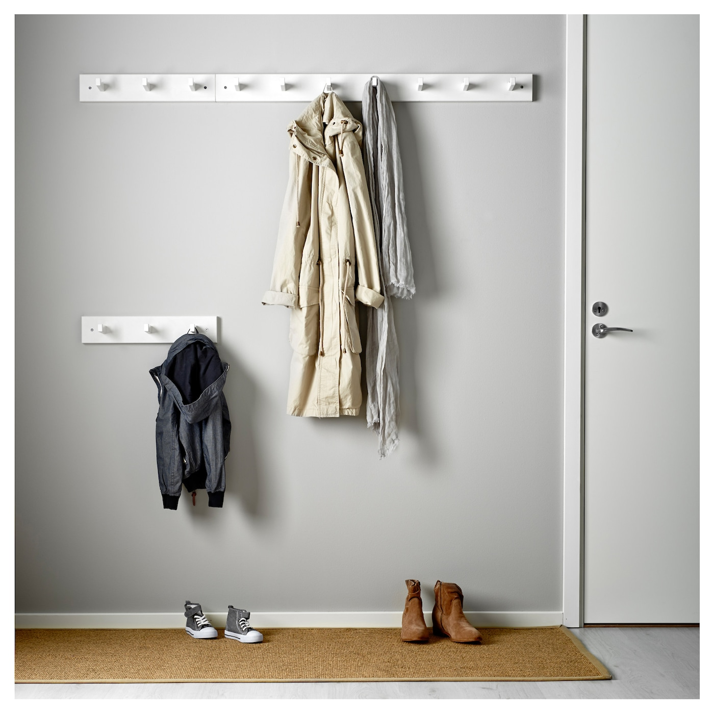 IKEA KUBBIS rack with 3 hooks Solid wood is a hardwearing natural material.