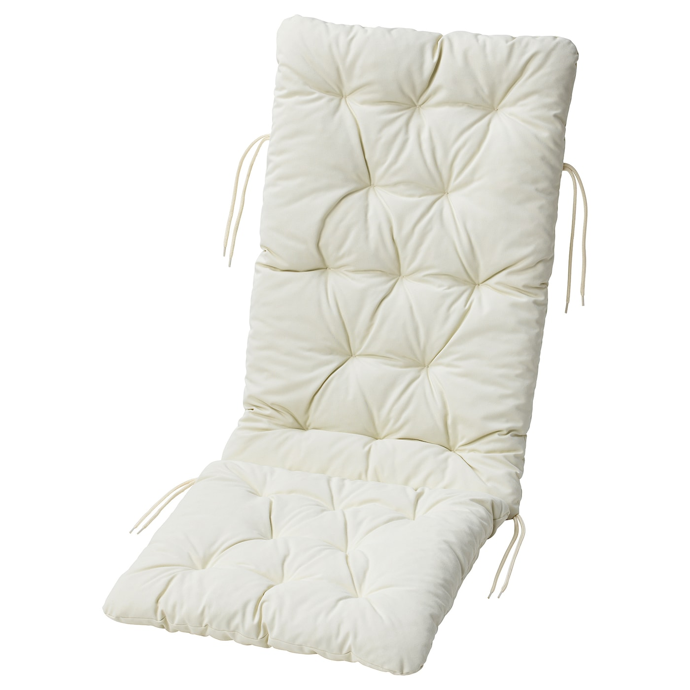 IKEA KUDDARNA seat/back cushion, outdoor Ties keep the cushion firmly in place on the chair.