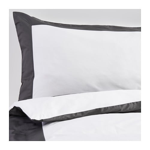 Kuddflox quilt cover and 4 pillowcases white grey 200x200 for Parure housse de couette ikea