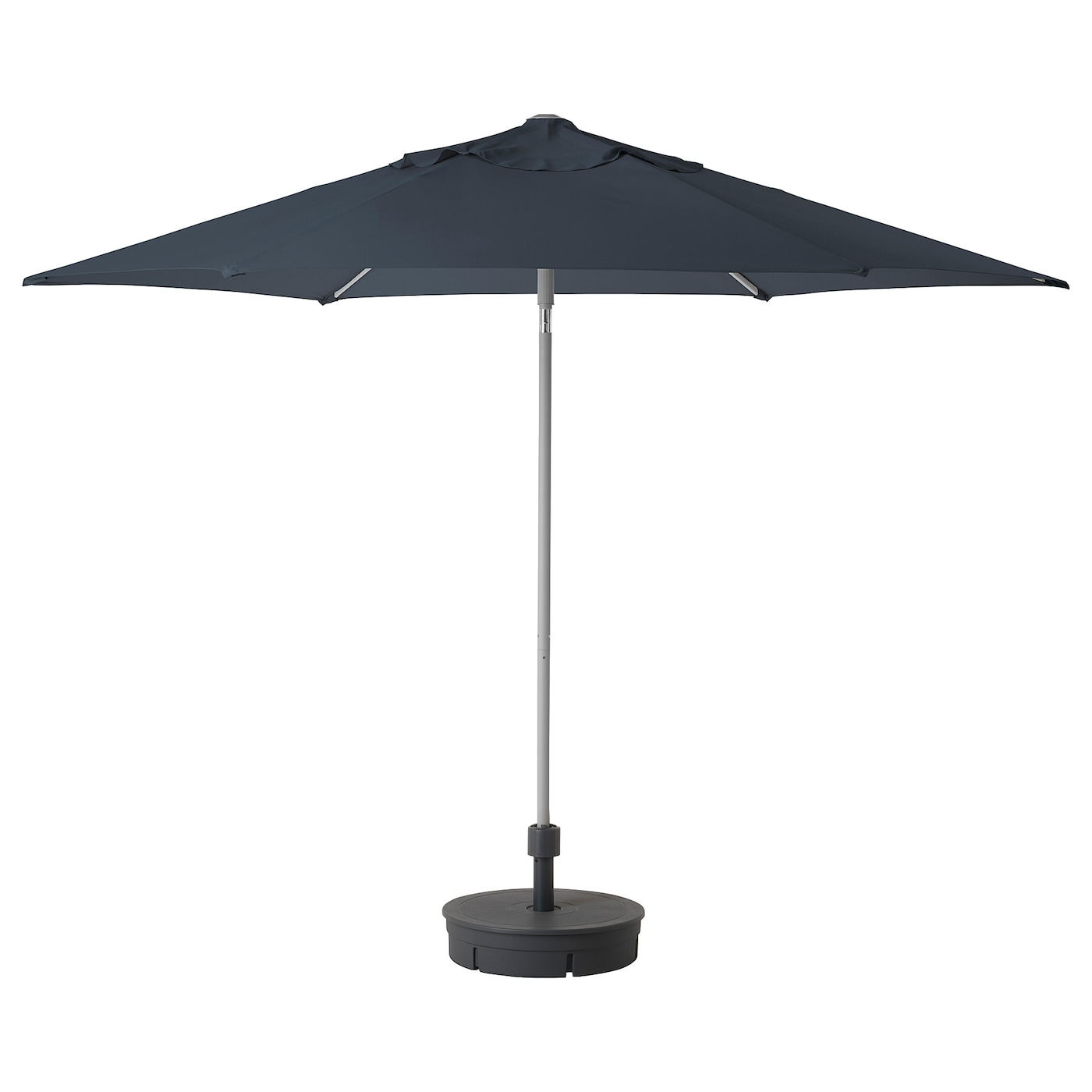 IKEA KUGGÖ/LINDÖJA parasol with base The strap with buckle keeps the fabric in place when folded.