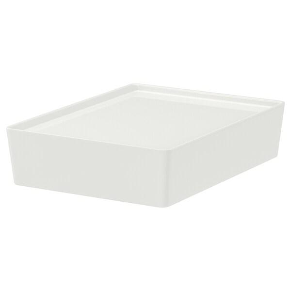 KUGGIS Box with lid, white, 26x35x8 cm
