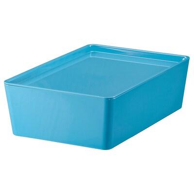 KUGGIS Storage box with lid, blue/plastic, 18x26x8 cm