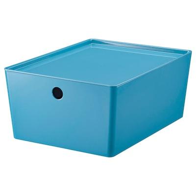 KUGGIS Storage box with lid, blue/plastic, 26x35x15 cm